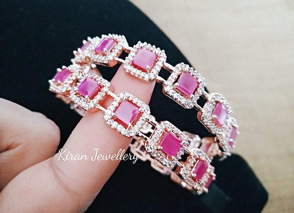 RoseGold Ruby Color Bangles