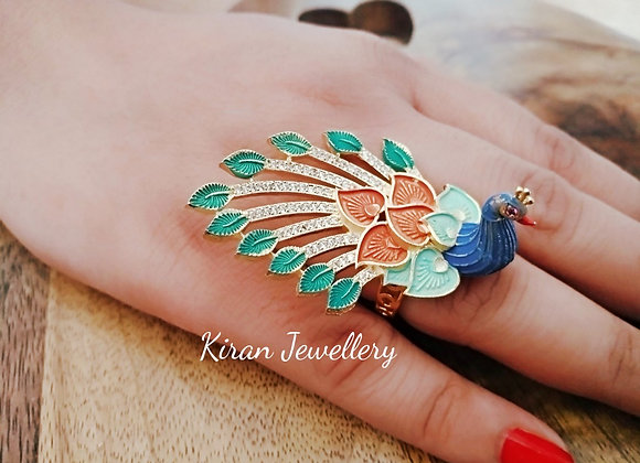 Peacock Ring in Blue and Green Color
