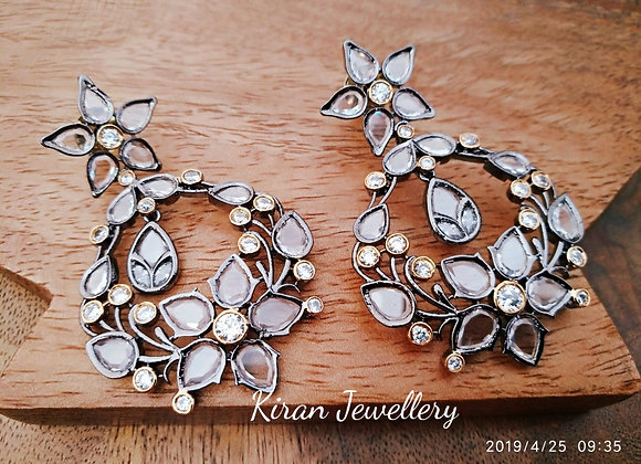 Kiran Jewellery Black Polish Earrings