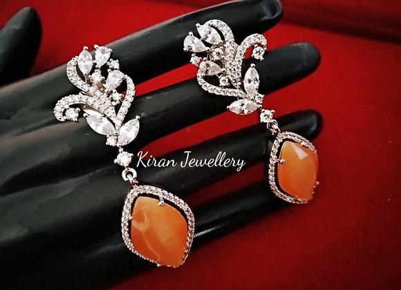 Elegant Orange Drop Earrings