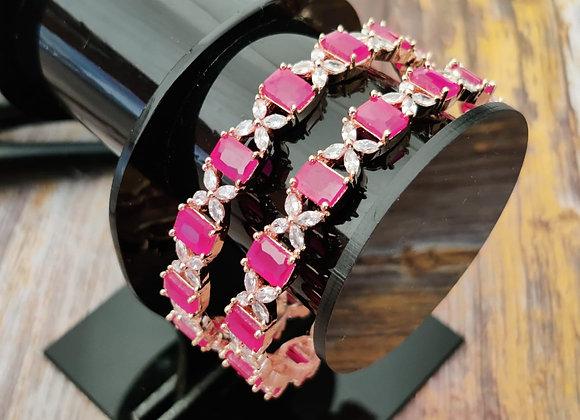 American Diamond Ruby Stone Bangles