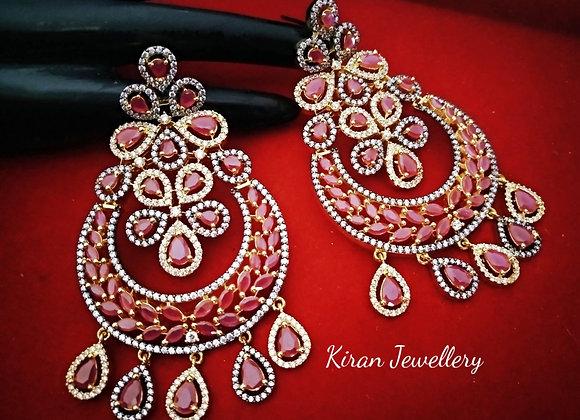 Ruby Color Royal Look Earrings