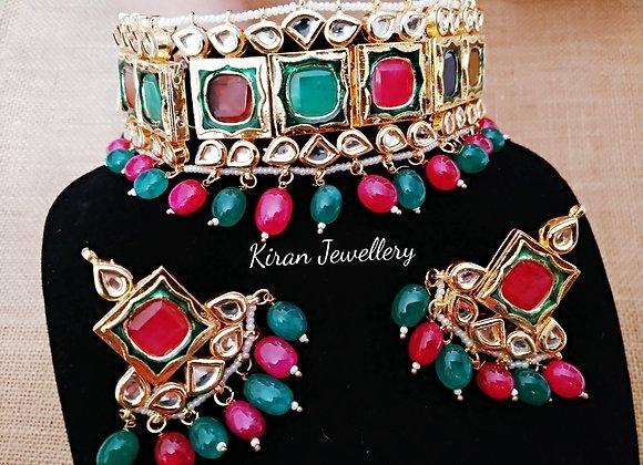 Kundan Choker in Ruby & Green Color