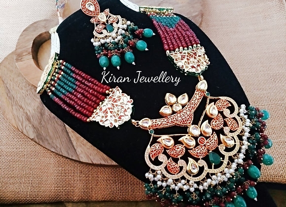 Ruby Meena  Pendant with Kundan Work