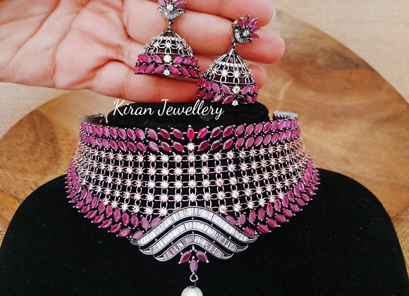 Ruby Color Choker Necklace