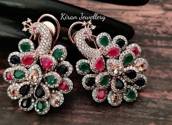 Multicolor Peacock Earrings