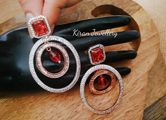 Ruby Stone Elegant Earrings