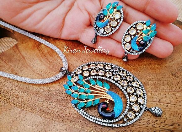 Oxidized Polish Peacock Pendant Set