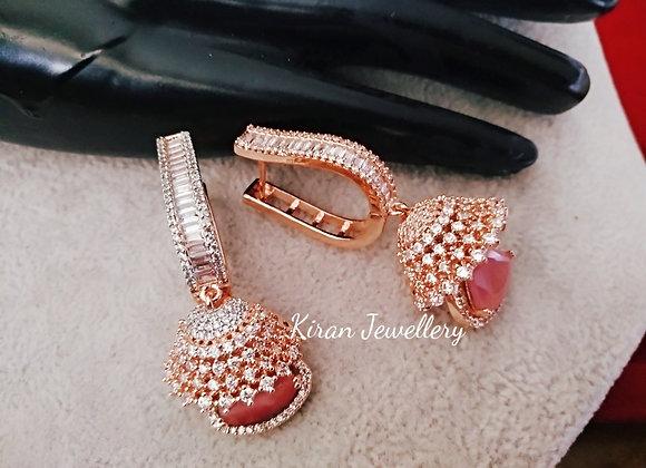 Pink Stone Elegant Earrings