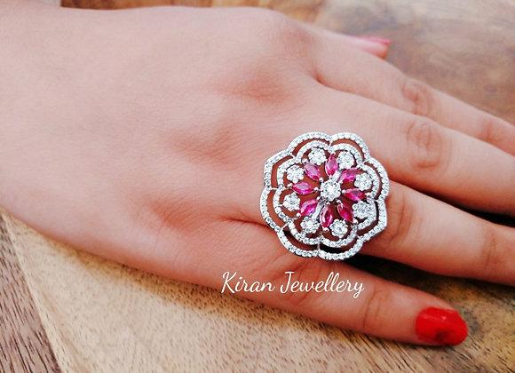 White Polish Ruby Ring