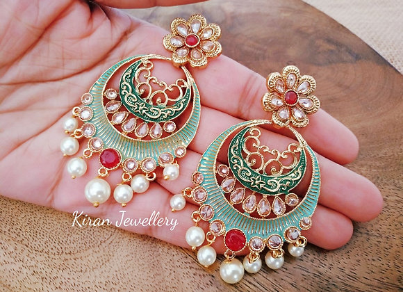 Polki Green Meena Earrings