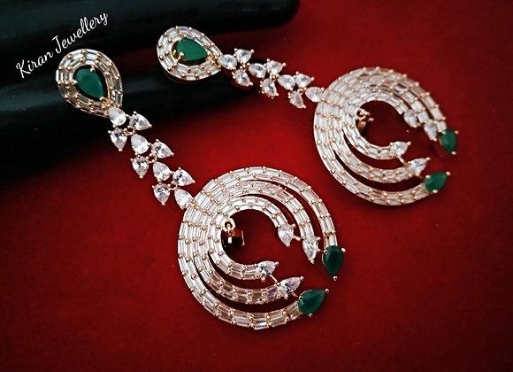 Green Stone AD Earrings