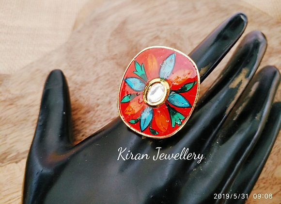 Red Meena Oval Shaped Ring