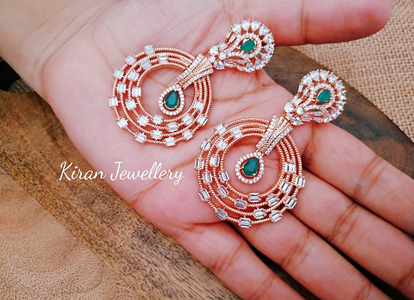 Royal Rosegold Green Earrings