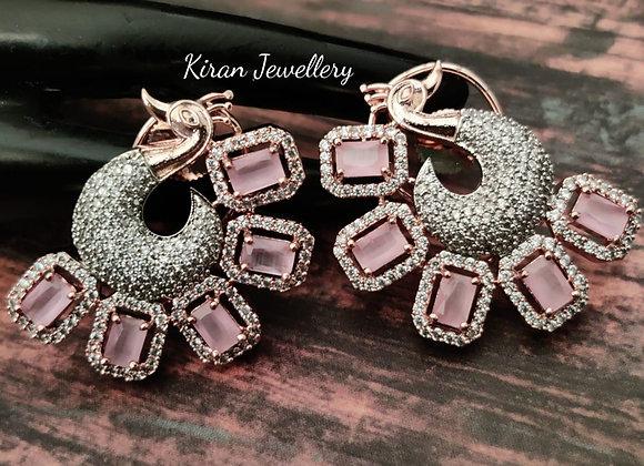 Elegant Pink Peacock Earrings