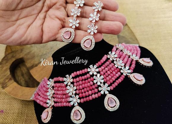 Pink Stone Choker Set