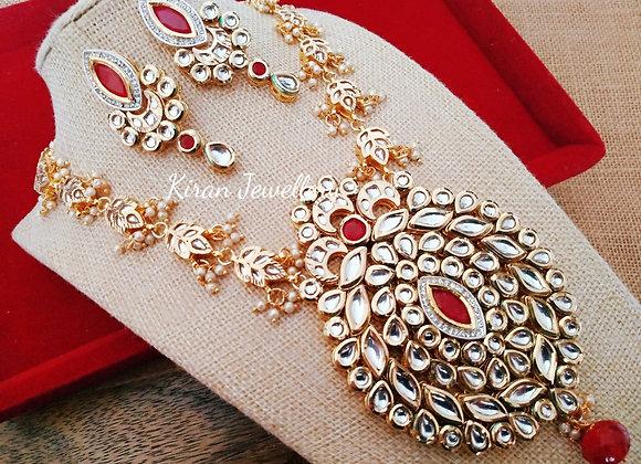 Long Ruby Kundan Necklace Set