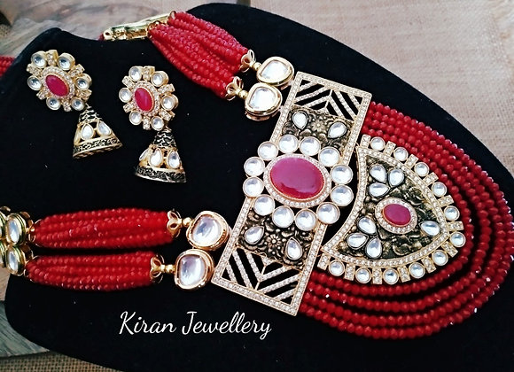 Red Mala Antique Look Mala Set