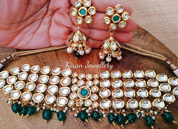 Kundan Choker Necklace In Green Color