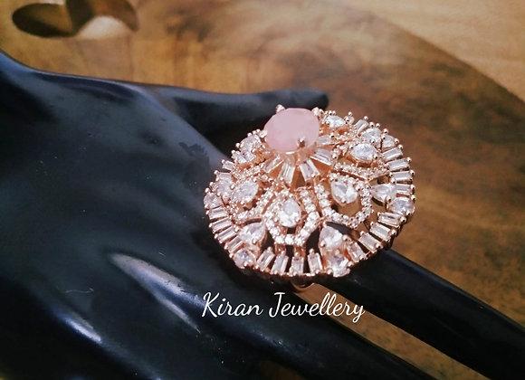 Pink Stone RoseGold Polish  Ring