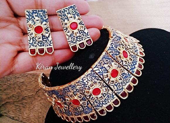 Blue Meena Ruby Stone Choker Set