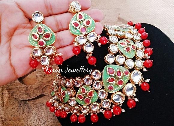 Green Meena Ruby Stone Kundan Necklace