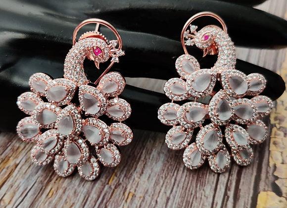 Peacock Earrings in Grey Stone