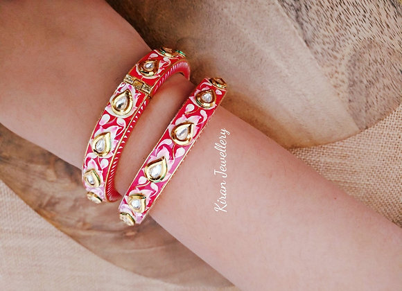 Kundan Bangles with handpainted in Pink Color