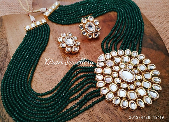 Green Mala Kundan Necklace