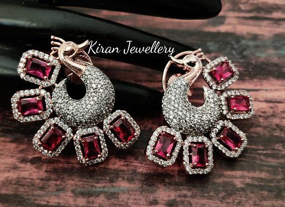 Elegant Ruby Peacock Earrings