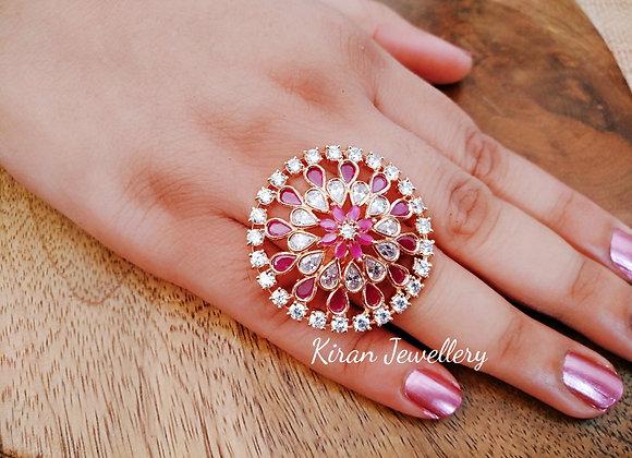 RoseGold Polish Elegant Ruby Ring