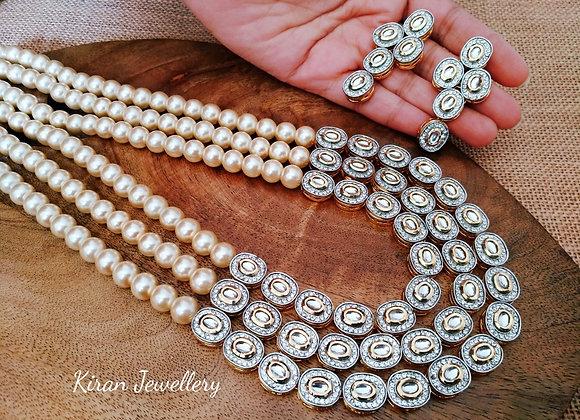 White Pearl Oxidised Kundan Set