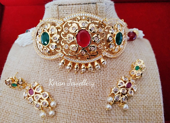 Ruby-Green Golden Necklace