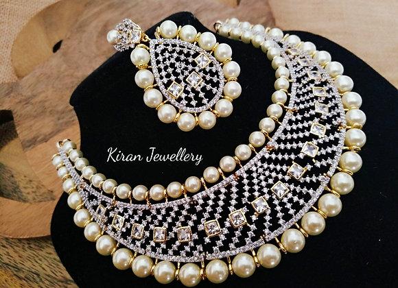 American Diamond Pearl Necklace
