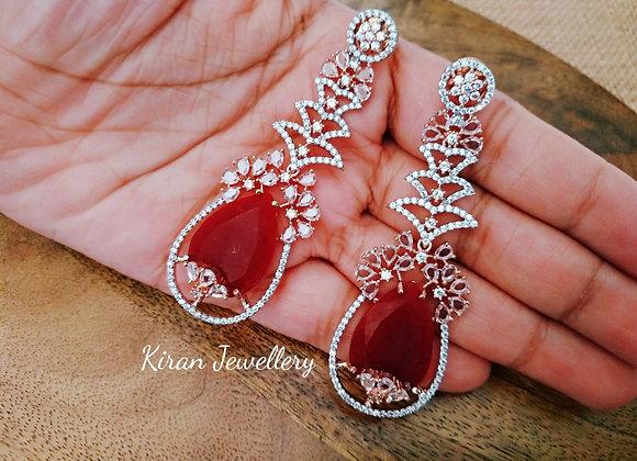 RoseGold Polish Ruby Earrings