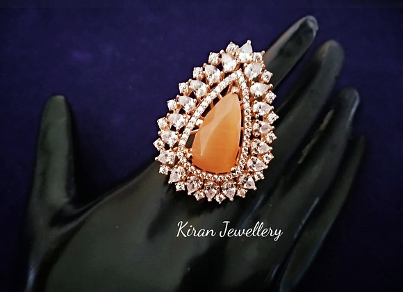 Orange Stone Stylish AD Ring