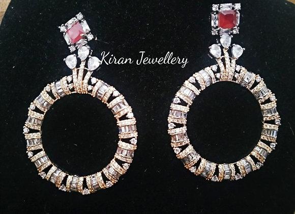 Lovely Ruby Color Earrings