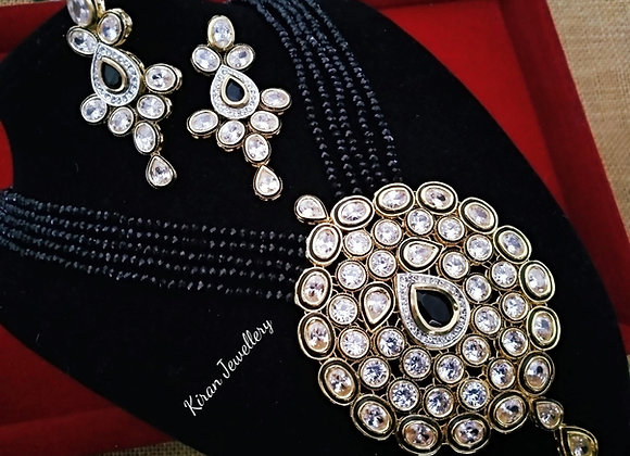 Black Mala Inverted AD Necklace