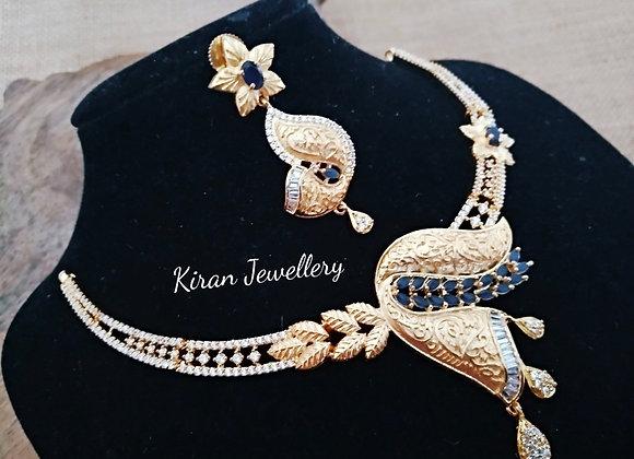 Blue Stone Golden Polish AD Necklace