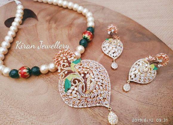 Royal Look Pendant set With Mala