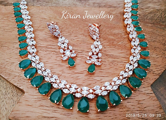 Green Rose Gold Polish Necklace