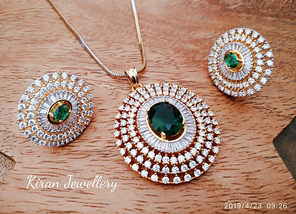Elegant Green Color Pendant Set
