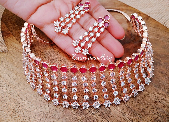 Ruby Color Choker In RoseGold Polish
