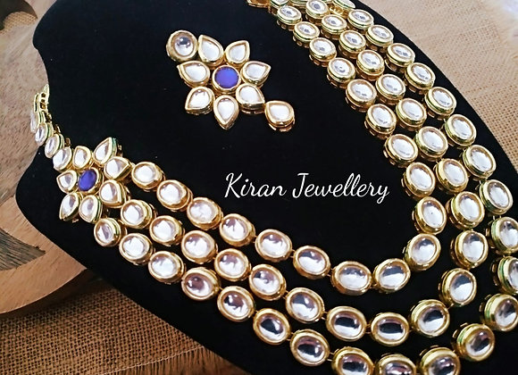 Blue Color Kundan Necklace
