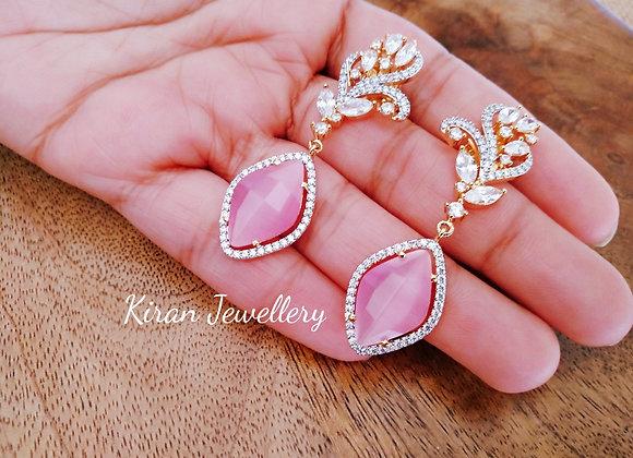 Elegant Pink Stone Earrings