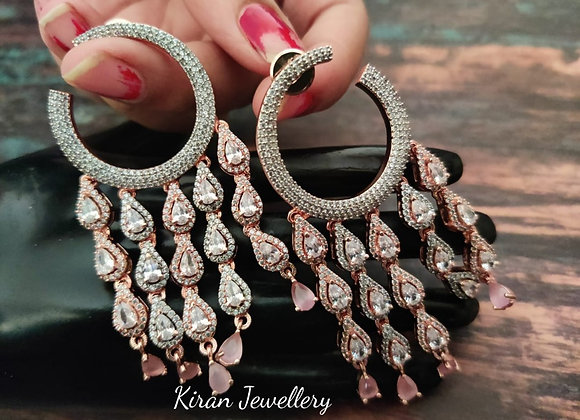 RoseGold Polish Pink Stone Earrings