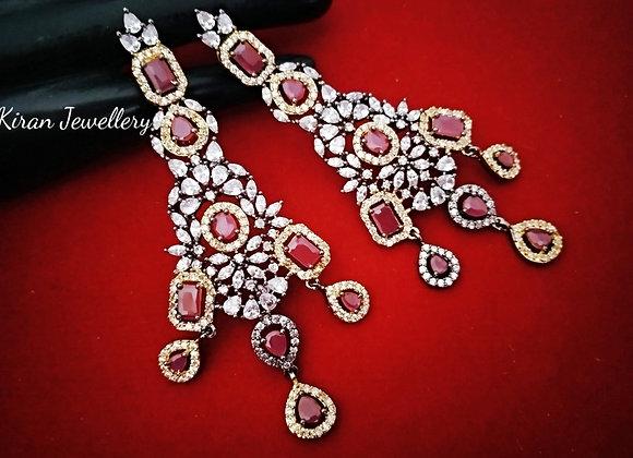 Oxidized Polish Ruby Earrings