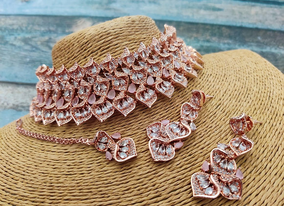 Pink Stone Rose gold Choker Necklace