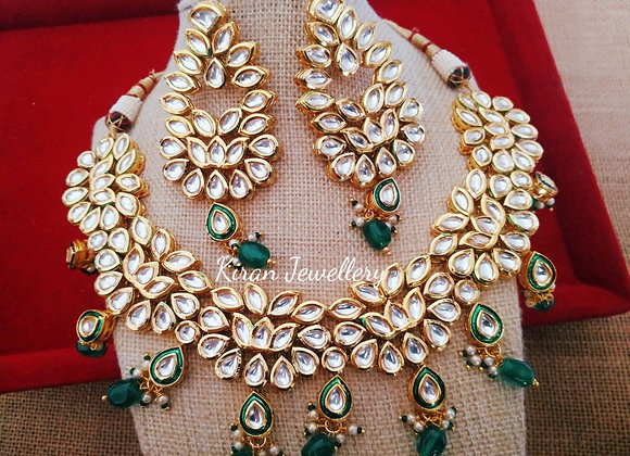 Kundan Necklace with Green Drops