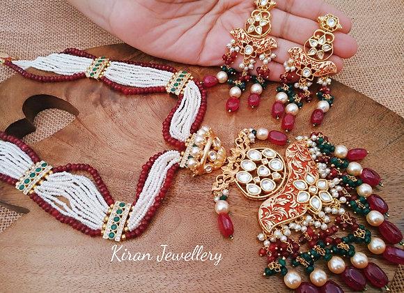 Ruby Meena White Pearl Mala Set